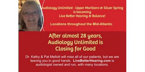 Audiology Unlimited is closing, Marlboro, Maryland