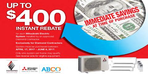 $400 Rebate on Mitsubishi Electric Cooling & Heating System, Staten Island, New York