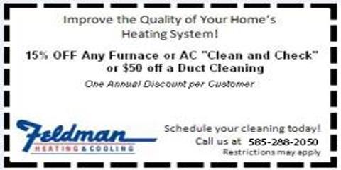 3 Big Deals From Rochester's Feldman Heating & Cooling, Rochester, New York