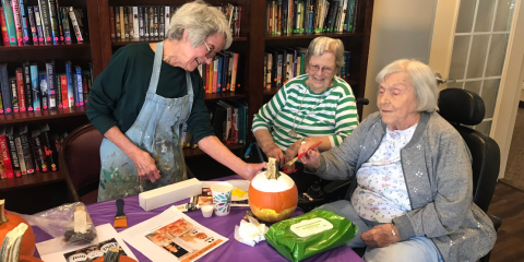 Coryell Health Residents Enjoy Fellowship While Painting Pumpkins , Gatesville, Texas