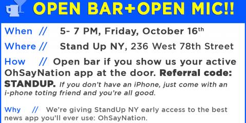 OPEN BAR FOR OPEN MIC-ER's, Manhattan, New York