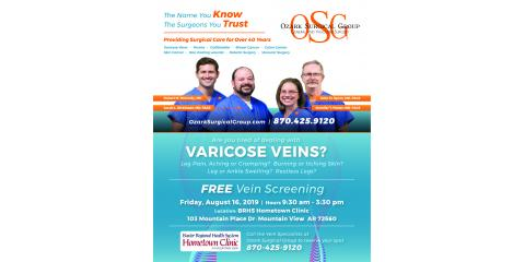 Free Vein Screening in Mountain View, Mountain Home, Arkansas