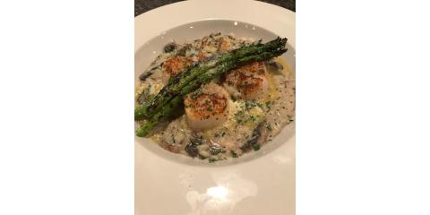 Saturday Night Chef's Special - Pan Seared Scallops over Mushroom Risotto w/ Grilled Asparagus!, Bon Secour, Alabama