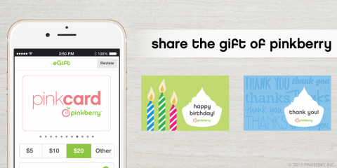 """Nothing Says """"Thinking of You"""" Like a Pinkberry Frozen Yogurt Gift Card! , Manhattan, New York"""