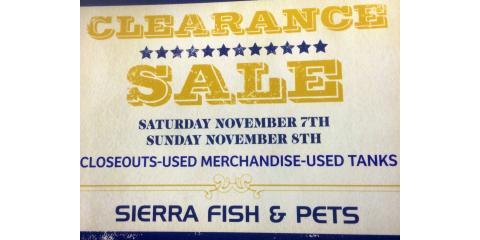 Pet and aquarium warehouse sale sierra fish pets for Sierra fish and pets