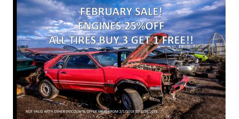 FEBRUARY SALE, ENGINES 25% OFF!! ALL TIRES BUY 3 GET 1 FREE!! , Hebron, Kentucky
