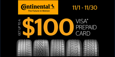 Continental - Get Up to a $100 Prepaid Card!, Kannapolis, North Carolina