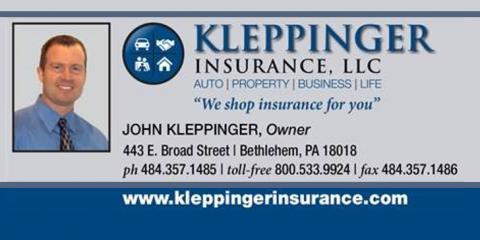 Kleppinger Insurance, LLC, Insurance Agencies, Services, Bethlehem, Pennsylvania