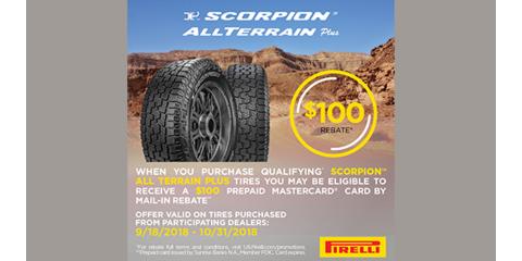 Pirelli - Scorpion™ All Terrain Plus Prepaid Card Rebate, Kannapolis, North Carolina