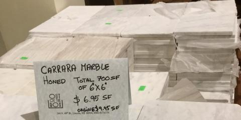 Honed Carrera Marble Tile on Sale, Lincoln, Nebraska