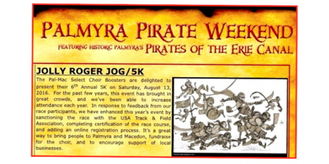 Register Today for the Jolly Roger Jog 5K on Saturday, August 13th , Canandaigua, New York