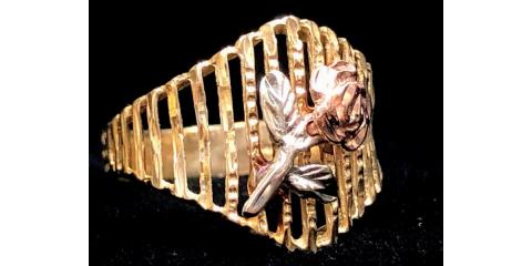Vintage 14K Tri Color Gold Rose Flower Open Lattice Filigree Ring, Tampa, Florida