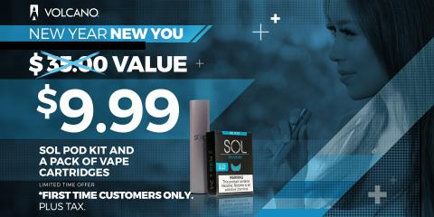 $9.99 SOL Vape Starter Kit - New Year 2019 VOLCANO eCigs, Koolaupoko, Hawaii