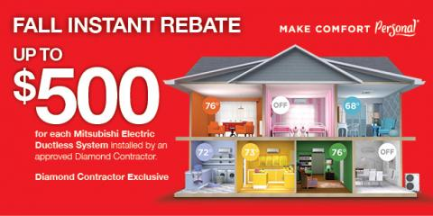 Up to $500 Instant Rebate on Mitsubishi® Electric Systems, Queens, New York