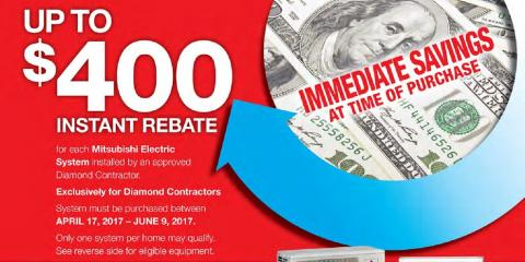 $400 Instant Rebate With a Mitsubishi® Electric Ductless AC!, Swansea, Massachusetts