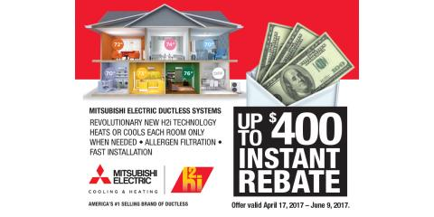 $400 Rebate on Mitsubishi Electric Ductless AC Systems, Park Ridge, New Jersey