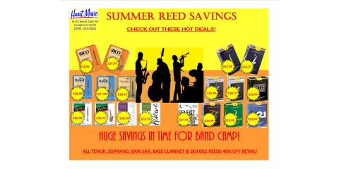 Summer Reed Savings This Month at Hurst Music Company, Lexington-Fayette, Kentucky