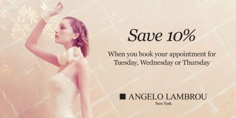 Save 10% off custom wedding gowns from Angelo Lambrou New York, Manhattan, New York