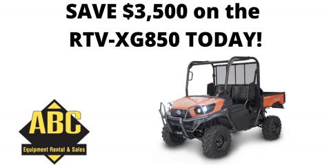 Save $3,500 on Kubota RTV-XG850 Sidekick!, Brunswick Hills, Ohio