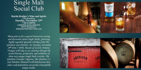 Experience Manhattan's Best Single Malt Scotch Tasting on Nov. 29th, Manhattan, New York