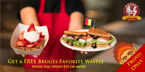Get a FREE Bruges Favorite Waffle, Provo-Orem, Utah