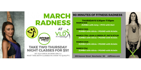 March Radness Zumba + POUND Fit: Two Classes $5!, Manchester, New Hampshire