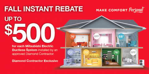 $500 Rebate on Mitsubishi Electric Multi-Zone Heating System, Brookline, Massachusetts