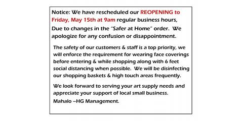 DATE CHANGE FOR REOPENING!!, ,