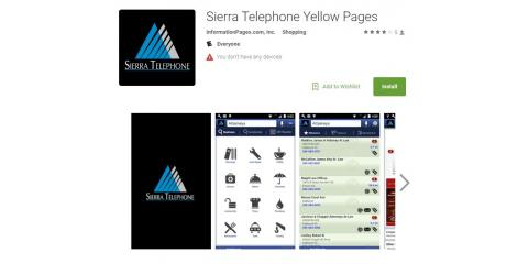Free Sierra Telephone Directory App, Oakhurst-North Fork, California