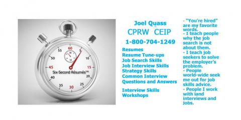 "Joel Quass of Six-Second Resumes is Named One of Jay Block's ""5 Steps to Rapid Employment Career Coaches!"" , Lakewood, New Jersey"