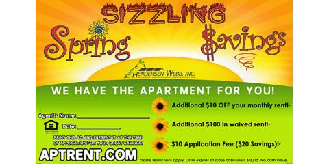 Sizzling Spring Savings from King's Mill Apartments!, Essex, Maryland