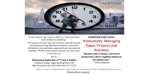 FREE workshop: Productivity: Managing Paper and Priorities, Huntington, New York