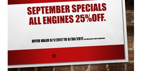 SEPTEMBER SPECIALS! ENGINES 25%OFF!!!, Hebron, Kentucky