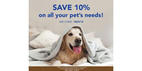 Save 10% on all your pets needs online store only, Wisconsin Dells, Wisconsin