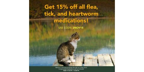 Save 15% of all Flea, Tick, Heartworm Meds online store only, Wisconsin Dells, Wisconsin
