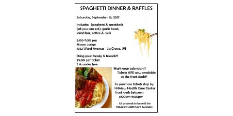 Hillview Auxiliary Spaghetti Supper Fundraising Tickets are Here!!!!, La Crosse, Wisconsin