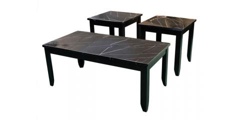 COFFEE AND 2 END TABLES – FAUX MARBLE-BLACK-$135, St. Louis, Missouri