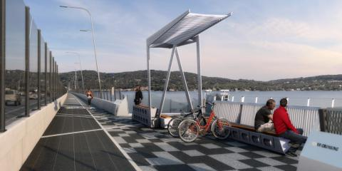 Cycling the New Bridge, Dobbs Ferry, New York
