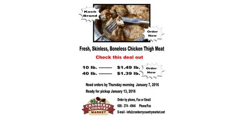 Fresh Skinless, Boneless Chicken Thigh Deal, Byron, Wisconsin