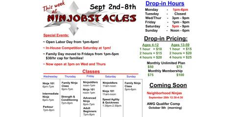 This Week at Ninjobstacles - Sept 2nd - Sept 8th, Centerville, Ohio