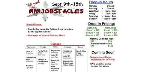 This Week at Ninjobstacles - Sept 9th - Sept 15th, Centerville, Ohio