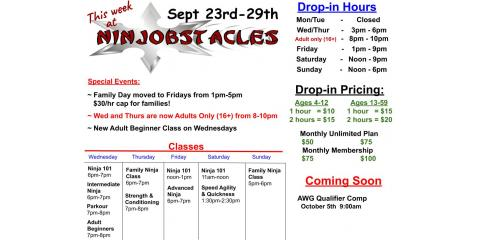 This Week at Ninjobstacles - Sept 23rd - Sept 29th, Centerville, Ohio