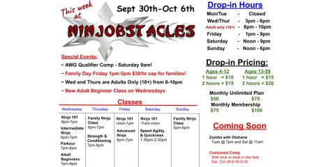 This Week at Ninjobstacles - Sept 29th-Oct 6th, Centerville, Ohio
