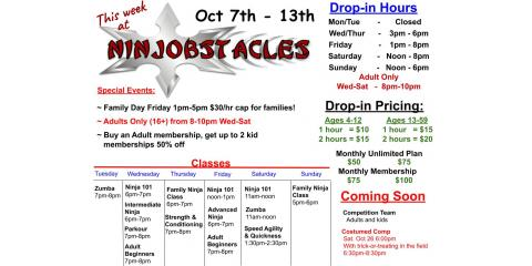 This Week at Ninjobstacles - Oct 7th-13th, Centerville, Ohio