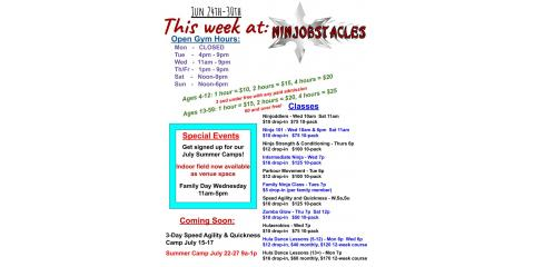 June 24-30 at Ninjobstacles, Centerville, Ohio