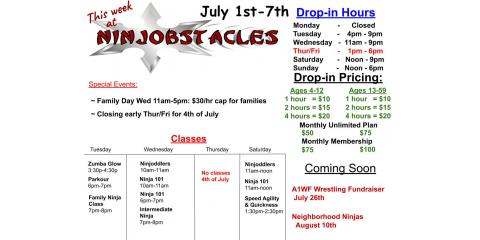 July 1st - 7th at Ninjobstacles, Centerville, Ohio
