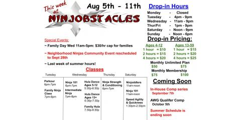 This Week at Ninjobstacles - August 5th - 11th, Centerville, Ohio