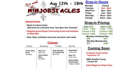 This Week at Ninjobstacles - August 12th - 18th, Centerville, Ohio