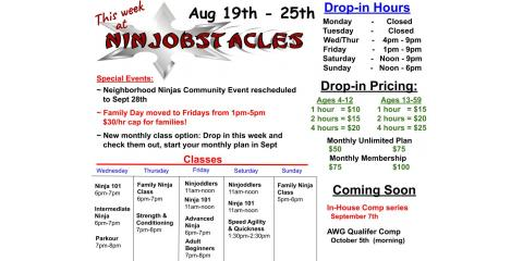 This Week at Ninjobstacles - August 19th-25th, Centerville, Ohio