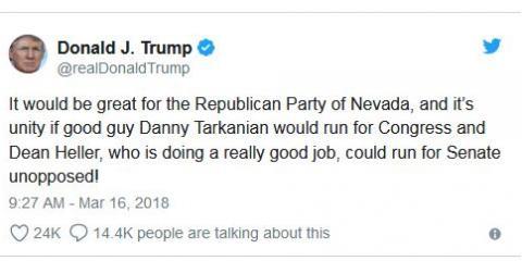 "TRUMP ENDORSES DANNY TARKANIAN FOR ""CD3"", ,"